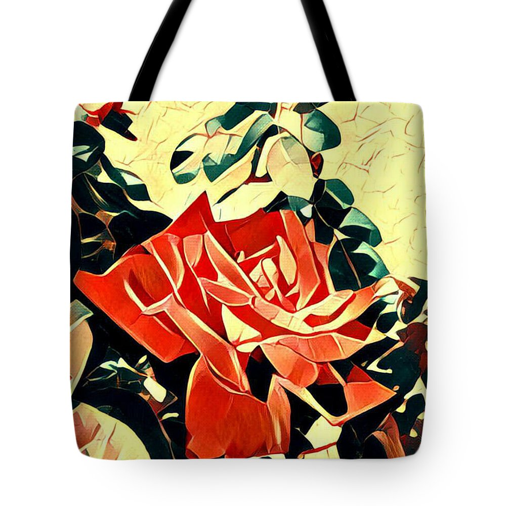 Tote Bag featuring the mixed media Push-button Flower by Nima Honarbakht