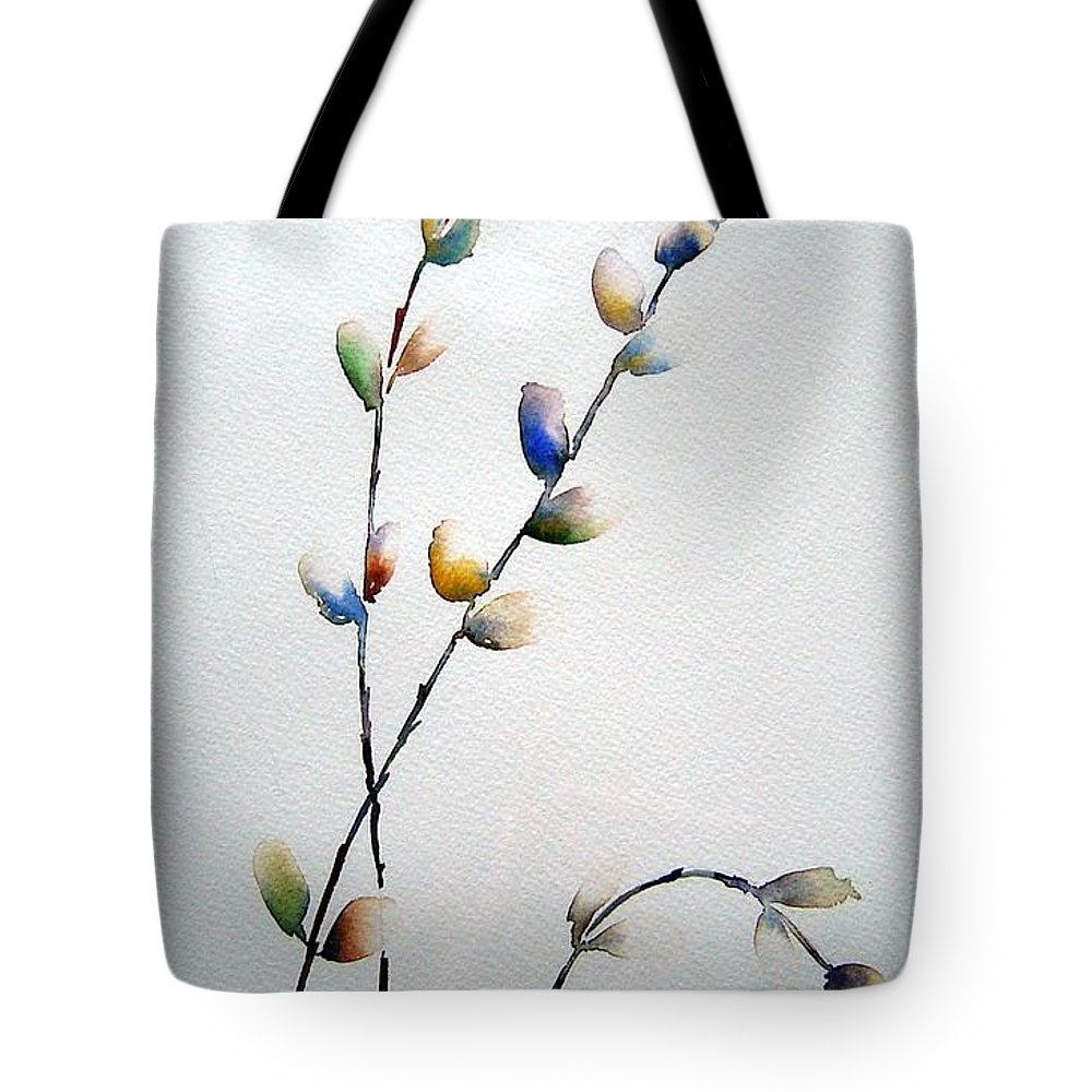 Pussy Willow Branches Tote Bag featuring the painting Pussy Willows by Joanne Smoley