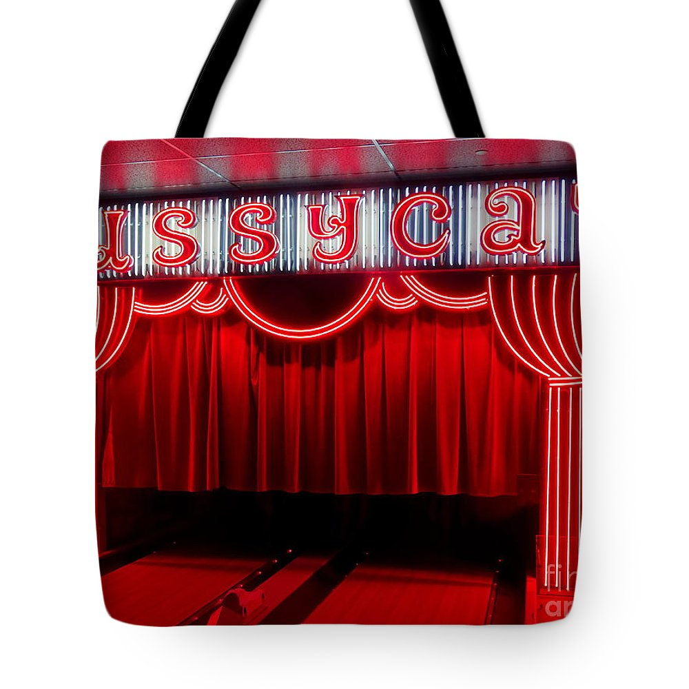 Neon Sign Tote Bag featuring the photograph Pussycat by Ed Weidman