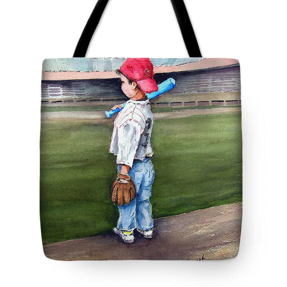 Baseball Tote Bag featuring the painting Put Me In Coach by Sam Sidders