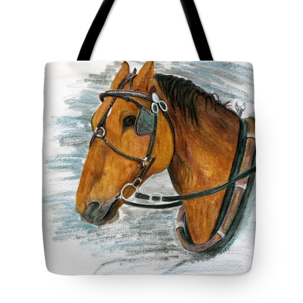 Horse Tote Bag featuring the painting Putting In His Time by Mary Tuomi