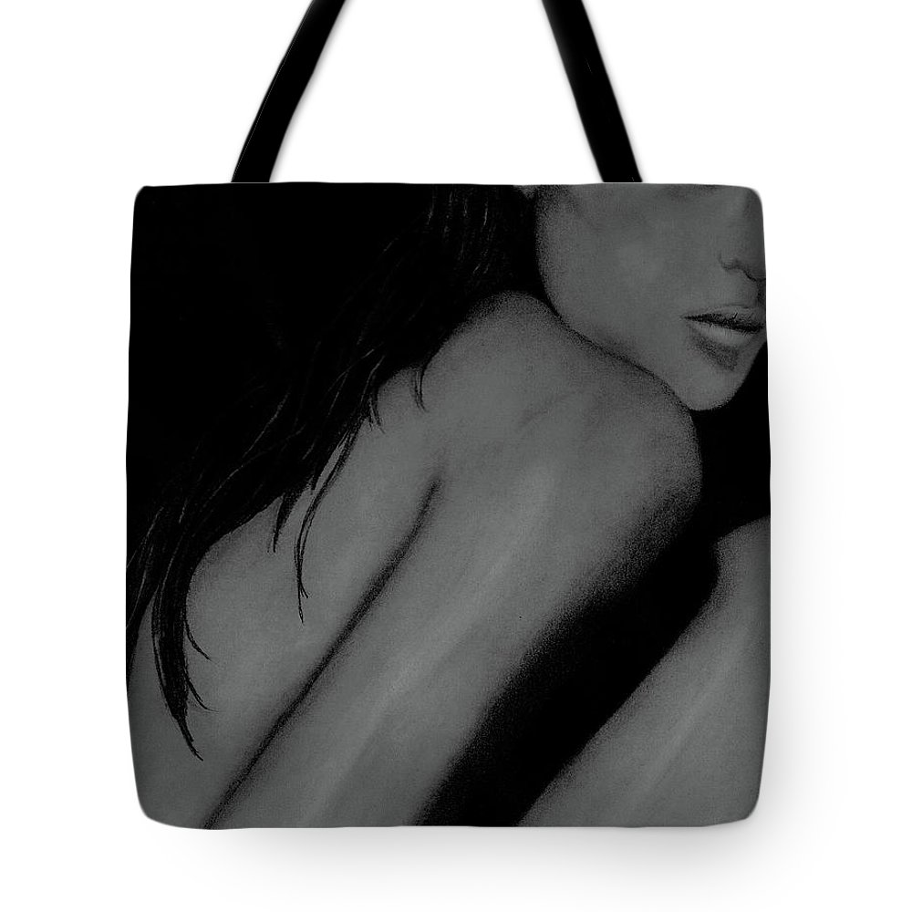 Woman.figurative Tote Bag featuring the drawing Puzzling by John Stuart Webbstock