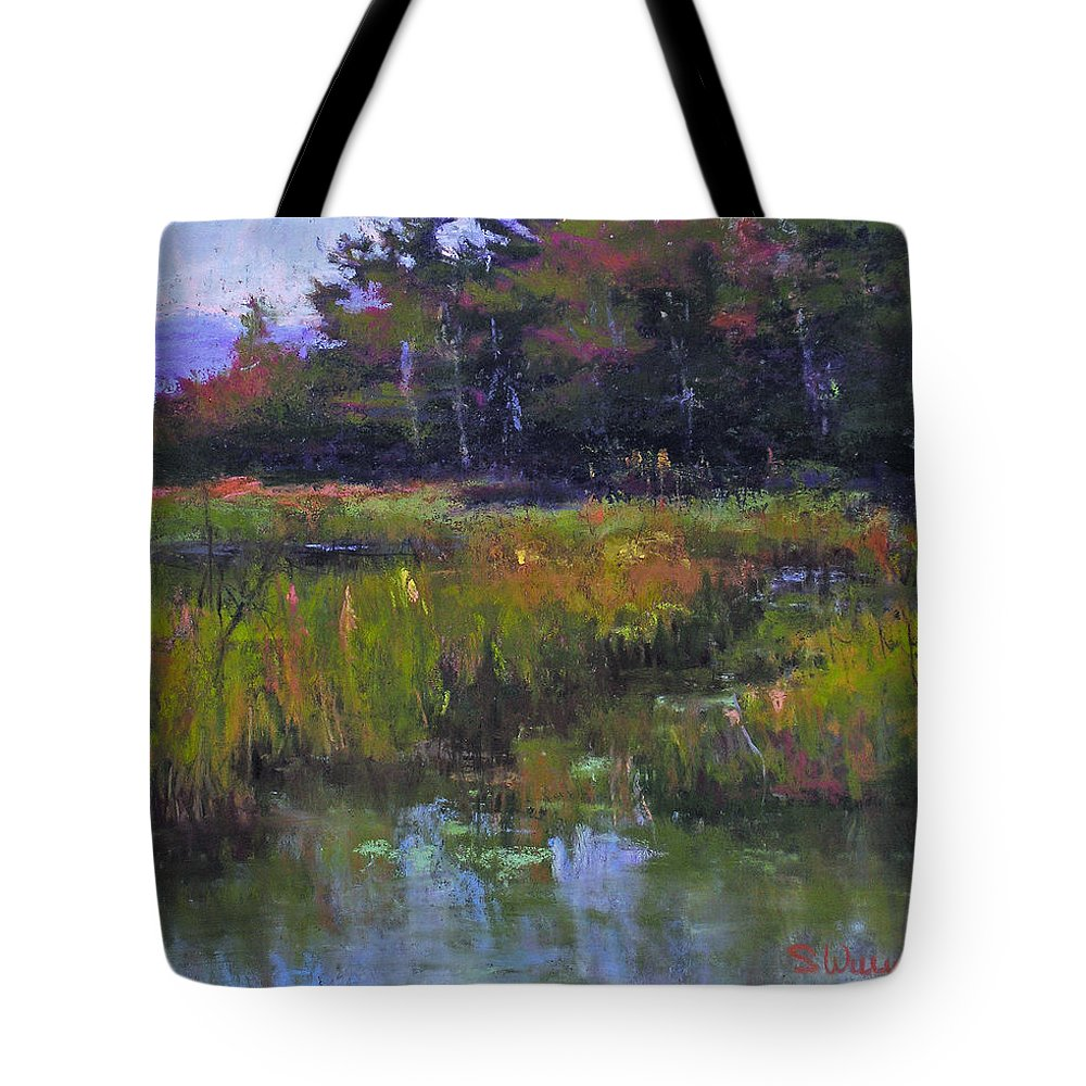 Landscape Tote Bag featuring the painting Pyramid Lake Marsh by Susan Williamson