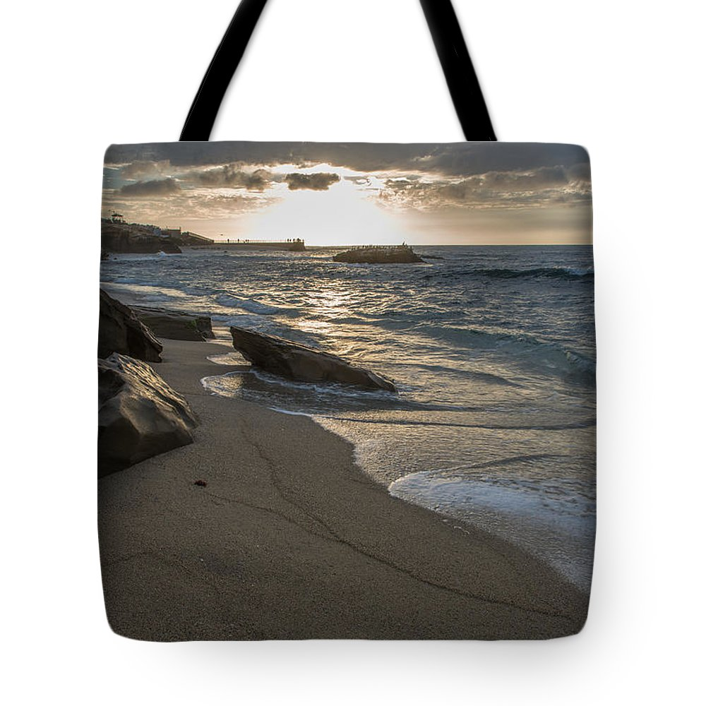 Sunset On Children's Park In La Jolla Cove Tote Bag featuring the photograph Pyramid Sunset by Scott Hafer