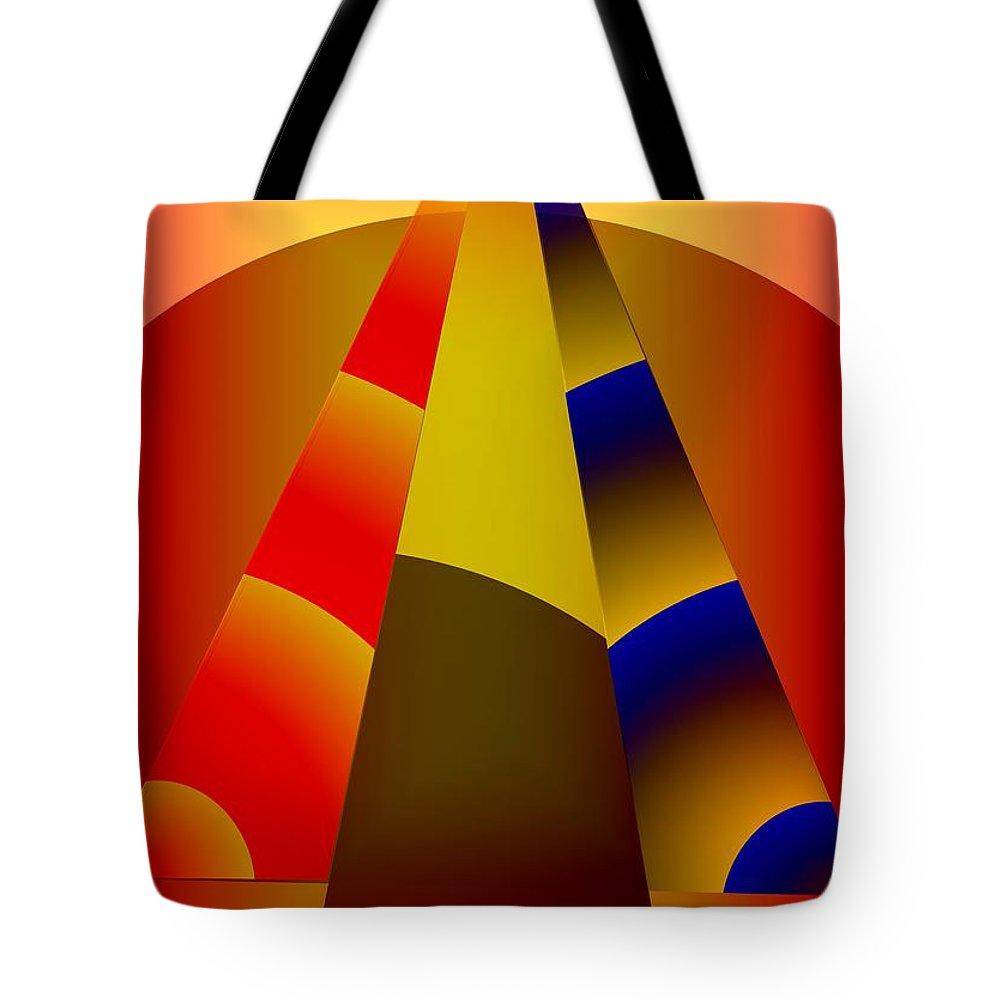 Pyramids Tote Bag featuring the digital art Pyramids Pendulum by Helmut Rottler