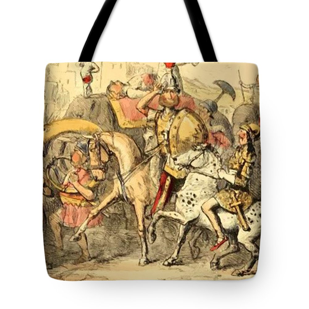 Pyrrhus Tote Bag featuring the painting Pyrrhus Arrives In Italy With His Troupe by Leech John