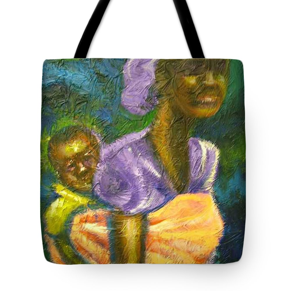 Mother And Child Tote Bag featuring the painting Safe And Secure by Jan Gilmore