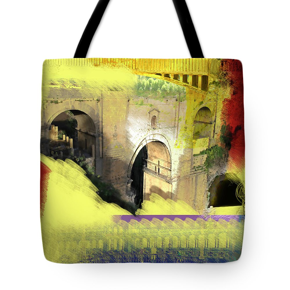 Spain Tote Bag featuring the mixed media Andalucia Fever by Tael Zimmer