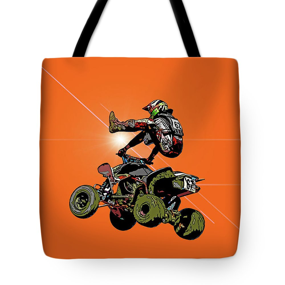 Recent Tote Bag featuring the photograph Quad Rider Series by Geraldine Scull