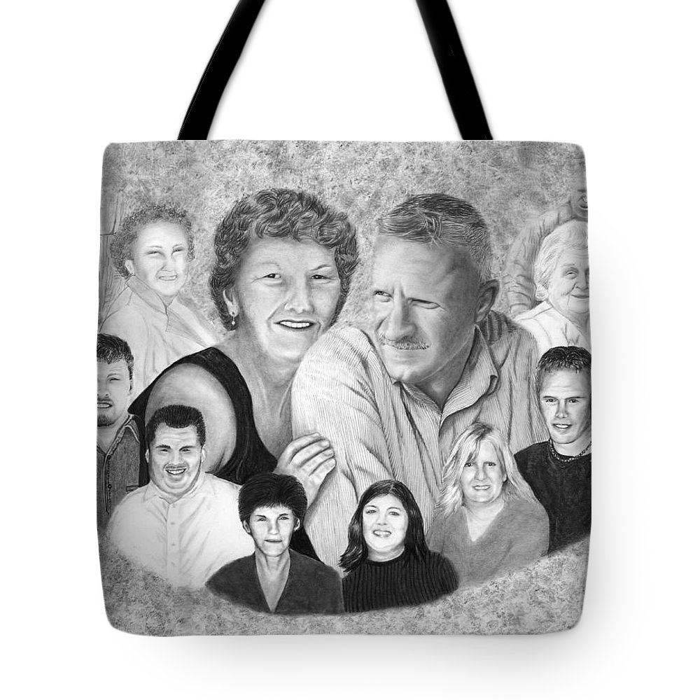 Family Portrait Tote Bag featuring the drawing Quade Family Portrait by Peter Piatt