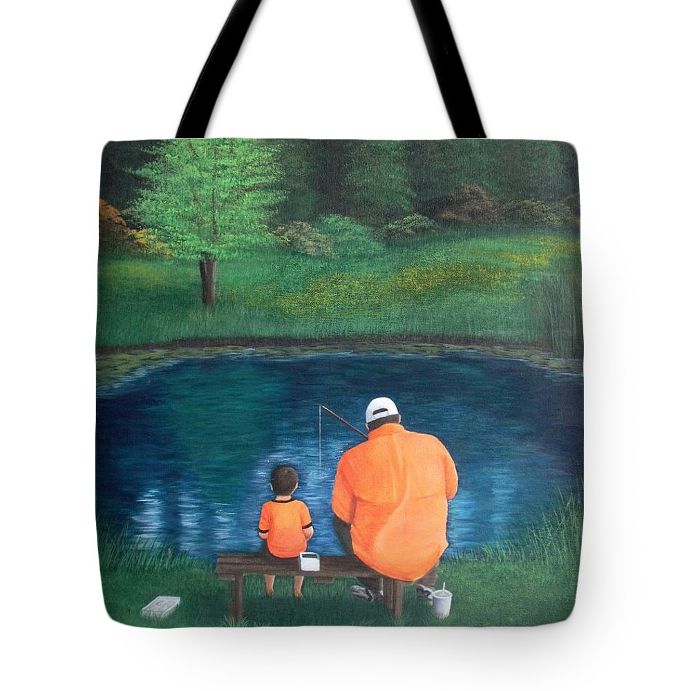 Fishing Tote Bag featuring the painting Quality Time by Marlene Little