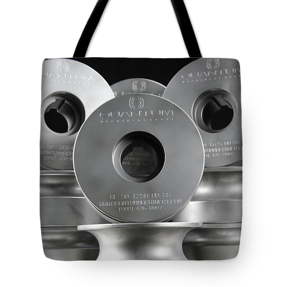 Quantum Machinery Blades & Tooling Tote Bag featuring the digital art Quantum Machinery Blades Tooling by Albert Solano
