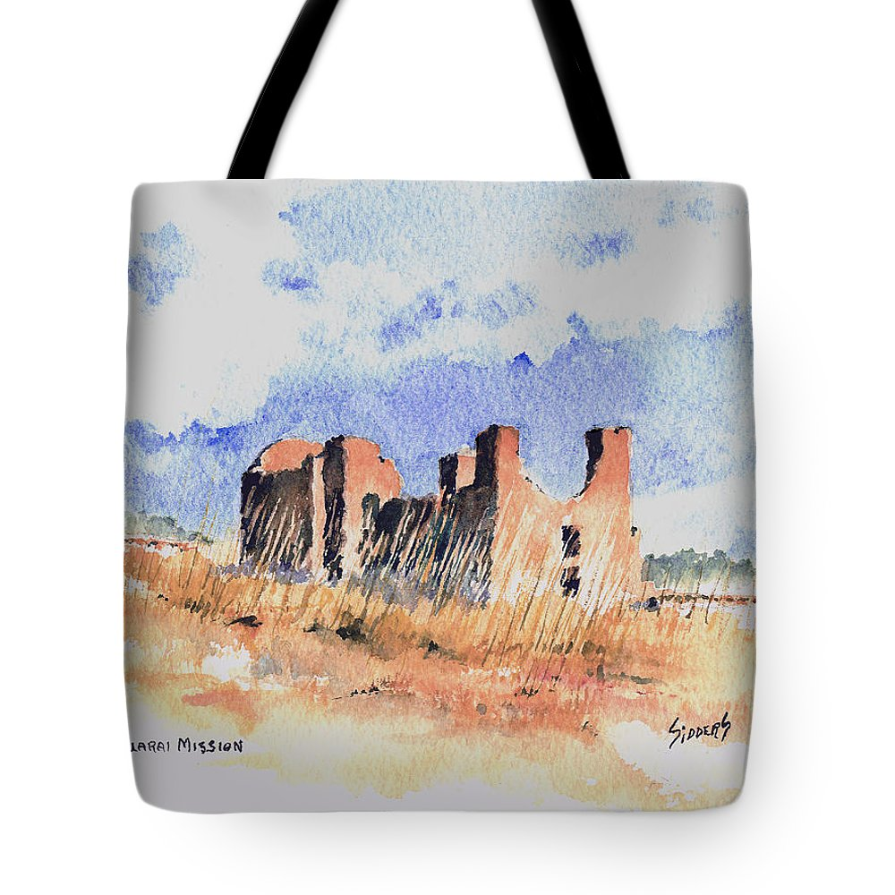 New Mexico Tote Bag featuring the painting Quarari Mission by Sam Sidders