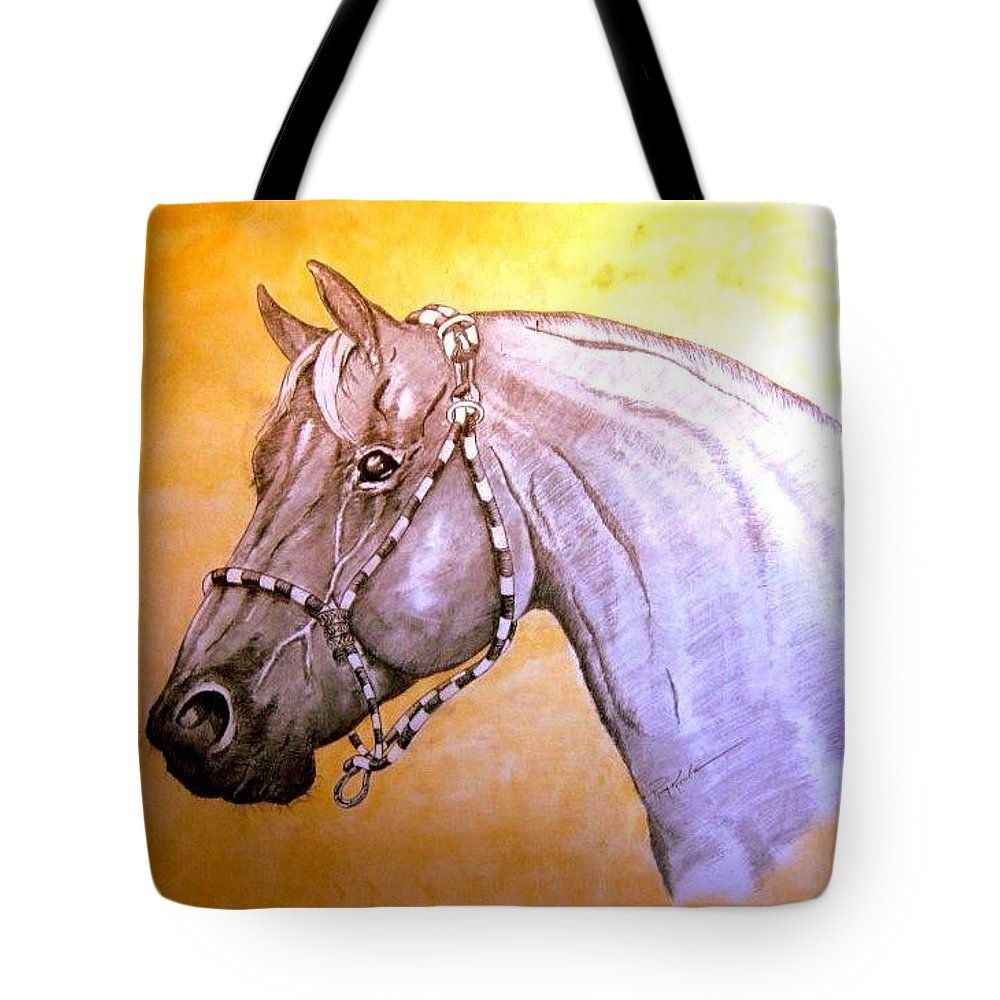 Horses Tote Bag featuring the drawing Quarter Horse W/ Rope Halter by Ray Krebs