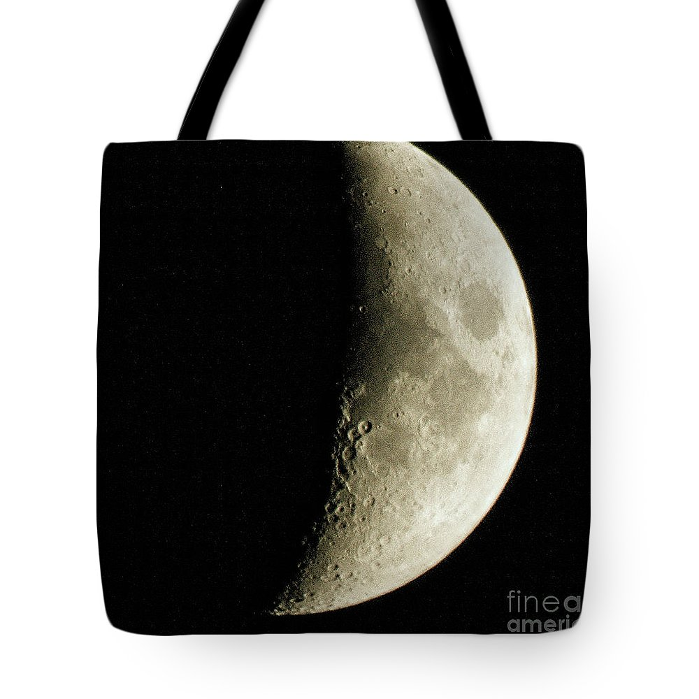Moon Picture Tote Bag featuring the photograph Quarter Moon Photo By W G Smith by W G Smith