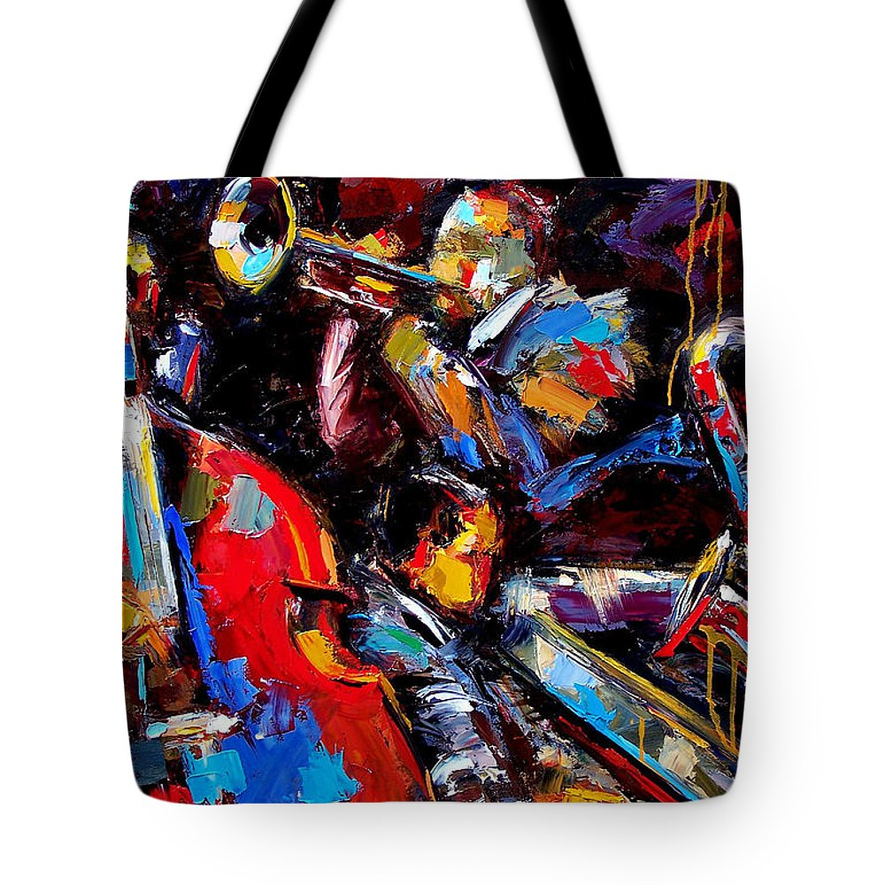 Jazz Paintings Tote Bag featuring the painting Quartet by Debra Hurd