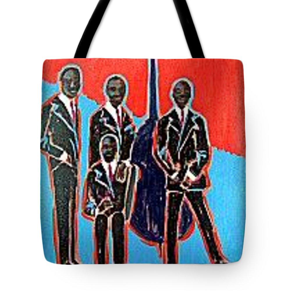 Jazz Quartet Portrait Tote Bag featuring the painting Quartet by Elizabeth Brightwell