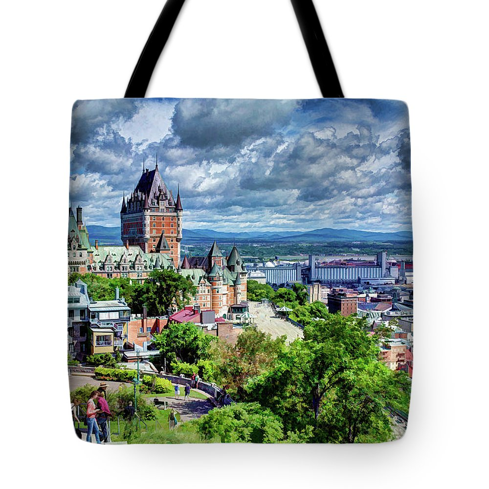 Quebec City Tote Bag featuring the photograph Quebec City Overlook by Dave Thompsen