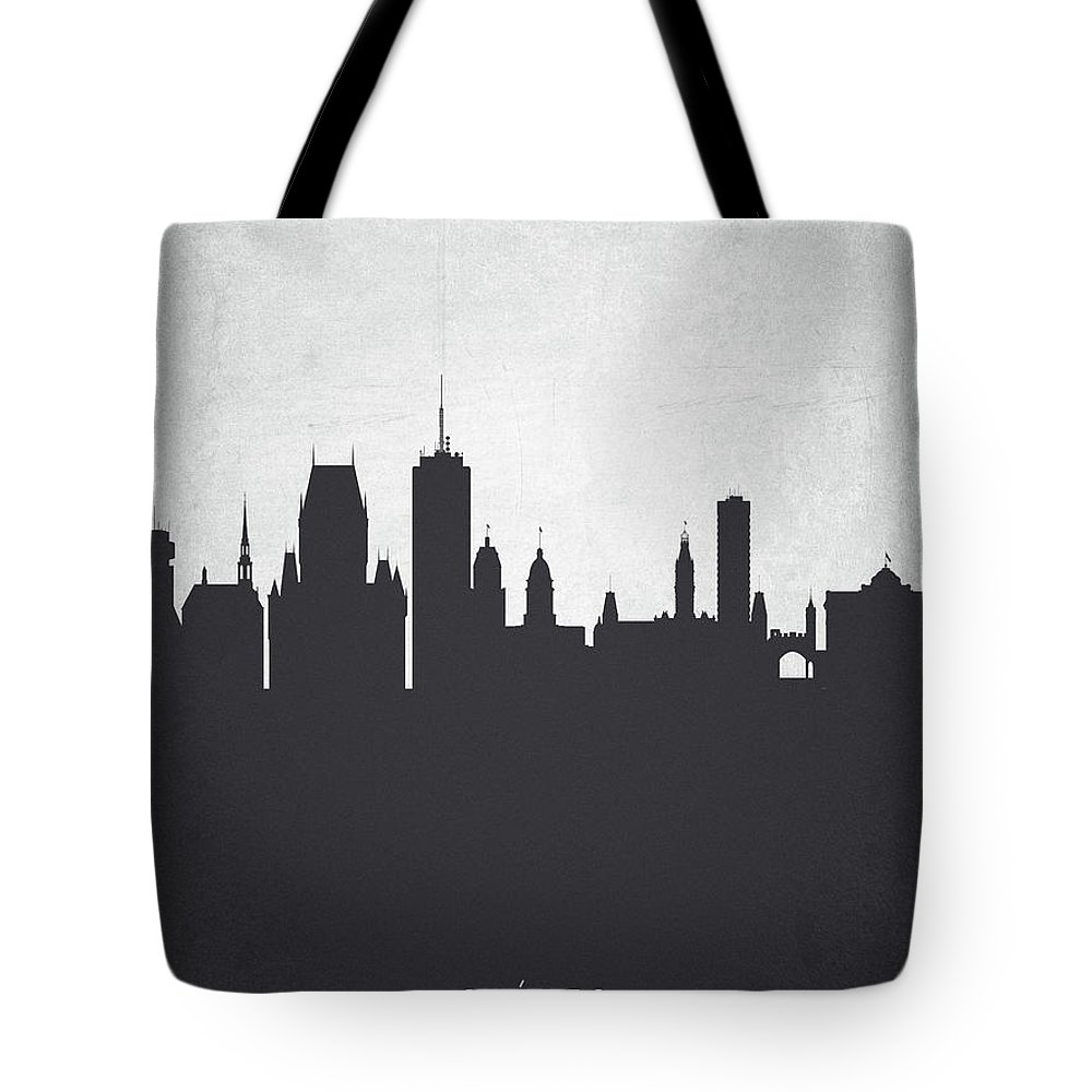 Quebec Tote Bag featuring the painting Quebec Cityscape 19 by Aged Pixel