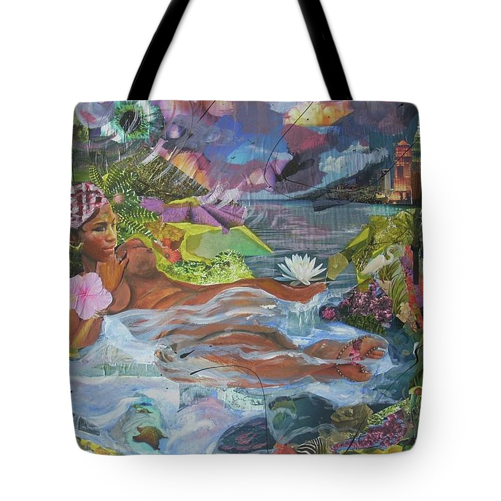 Queen Tote Bag featuring the painting Queen City Dreaming by Hasaan Kirkland
