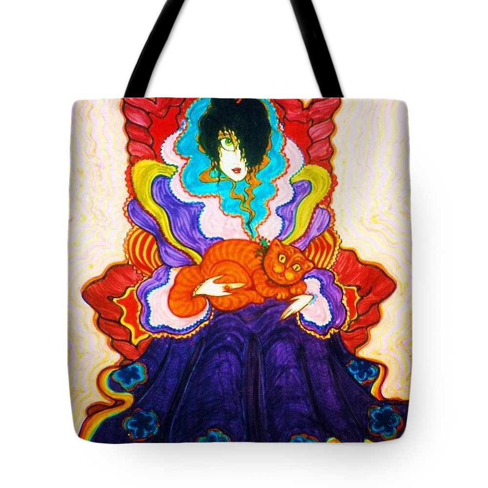 Original Art Tote Bag featuring the drawing Queen Of The Castle by Rae Chichilnitsky
