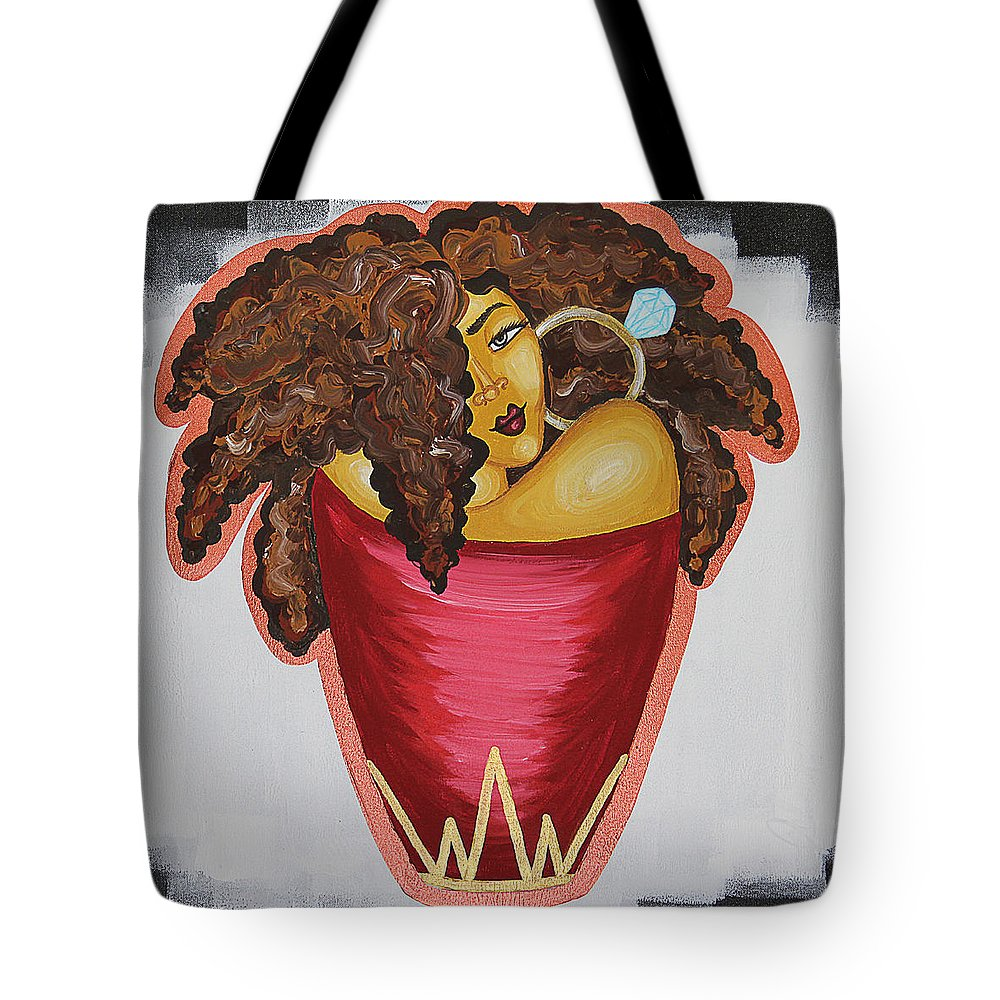 Aliya Michelle Tote Bag featuring the painting Queens Be Winning by Aliya Michelle