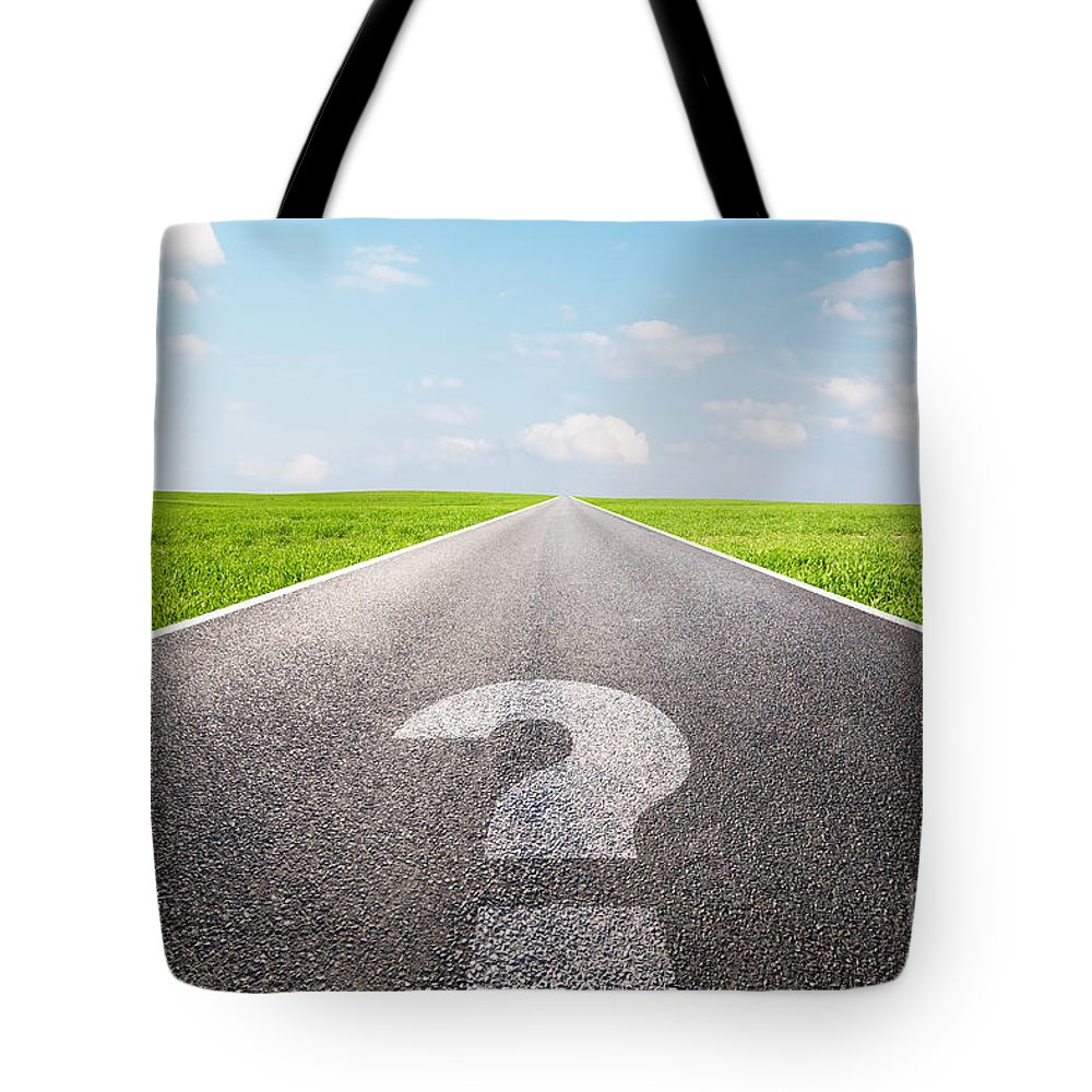Question Tote Bag featuring the photograph Question Mark Symbol On Long Empty Straight Road by Michal Bednarek