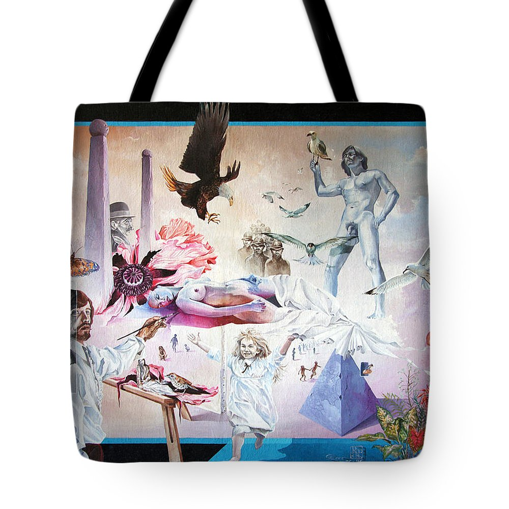 Surrealism Tote Bag featuring the painting Quiet Afternoon At The Studio by Otto Rapp
