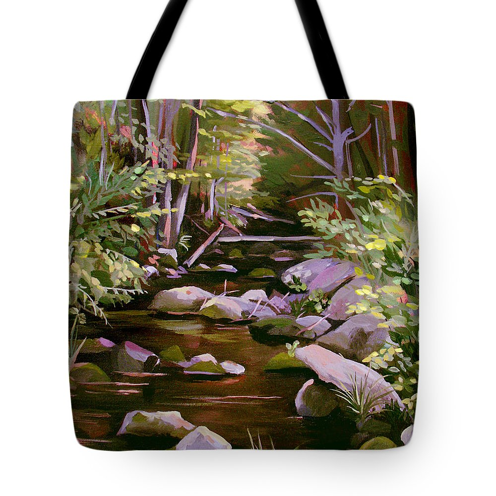 Peoples State Forest Tote Bag featuring the painting Quiet Brook by Nancy Griswold