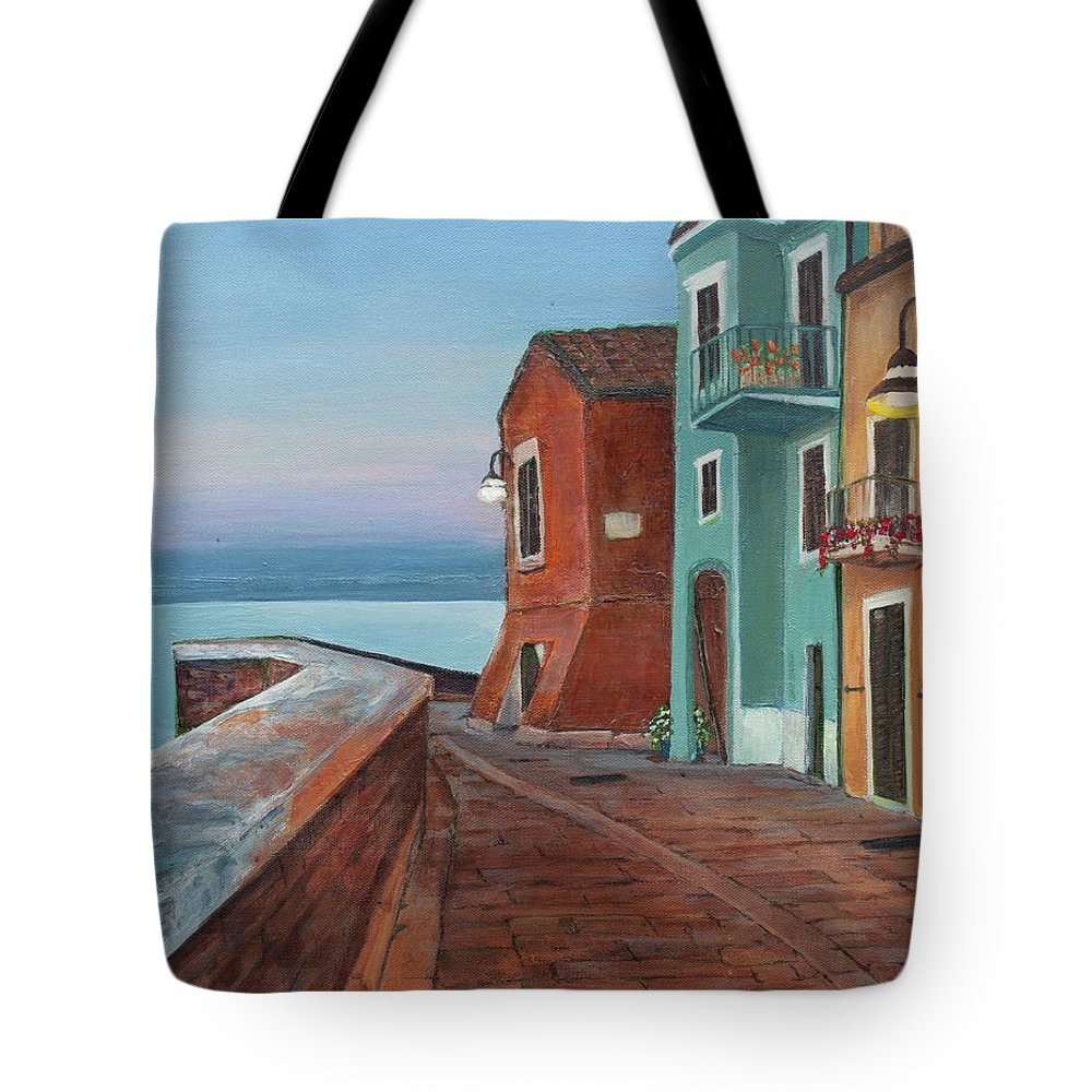 Dusk Tote Bag featuring the painting Quiet Sicilian Town by Diana Marino
