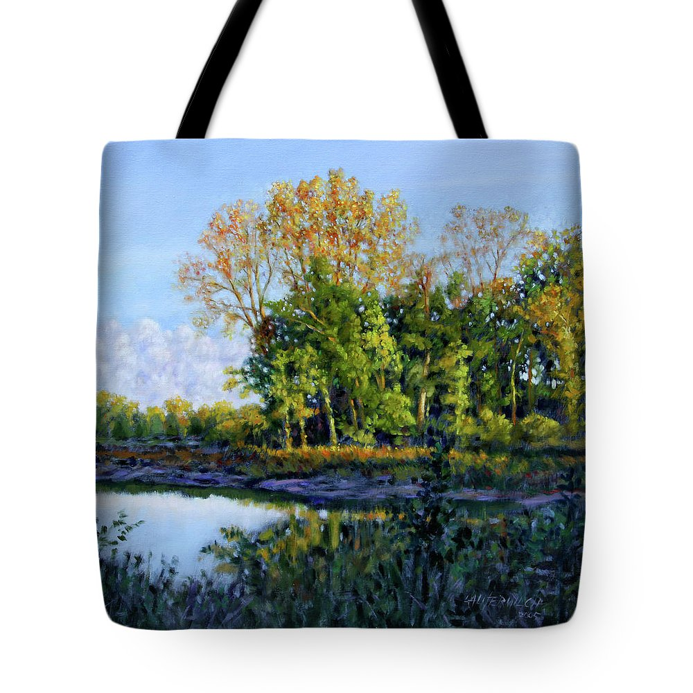 Scenery Tote Bag featuring the painting Quiet Cove by John Lautermilch