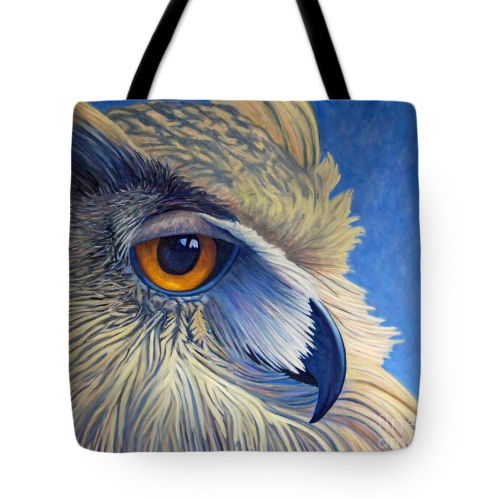 Owl Tote Bag featuring the painting Quiet Joy by Brian Commerford