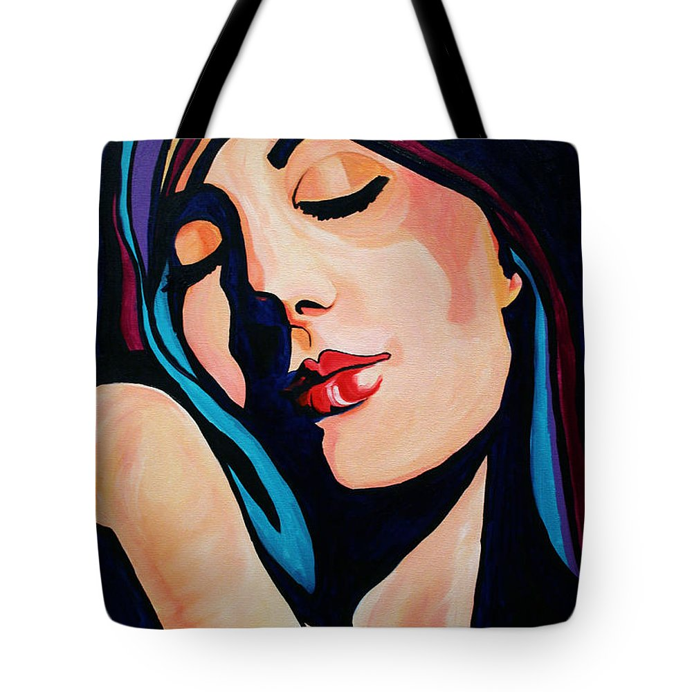 Pop Art Tote Bag featuring the painting Quiet Night With You by Laurie Pace