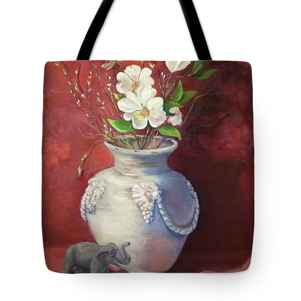 Still Life Tote Bag featuring the painting Quiet Resilience by Teresa Lynn Johnson