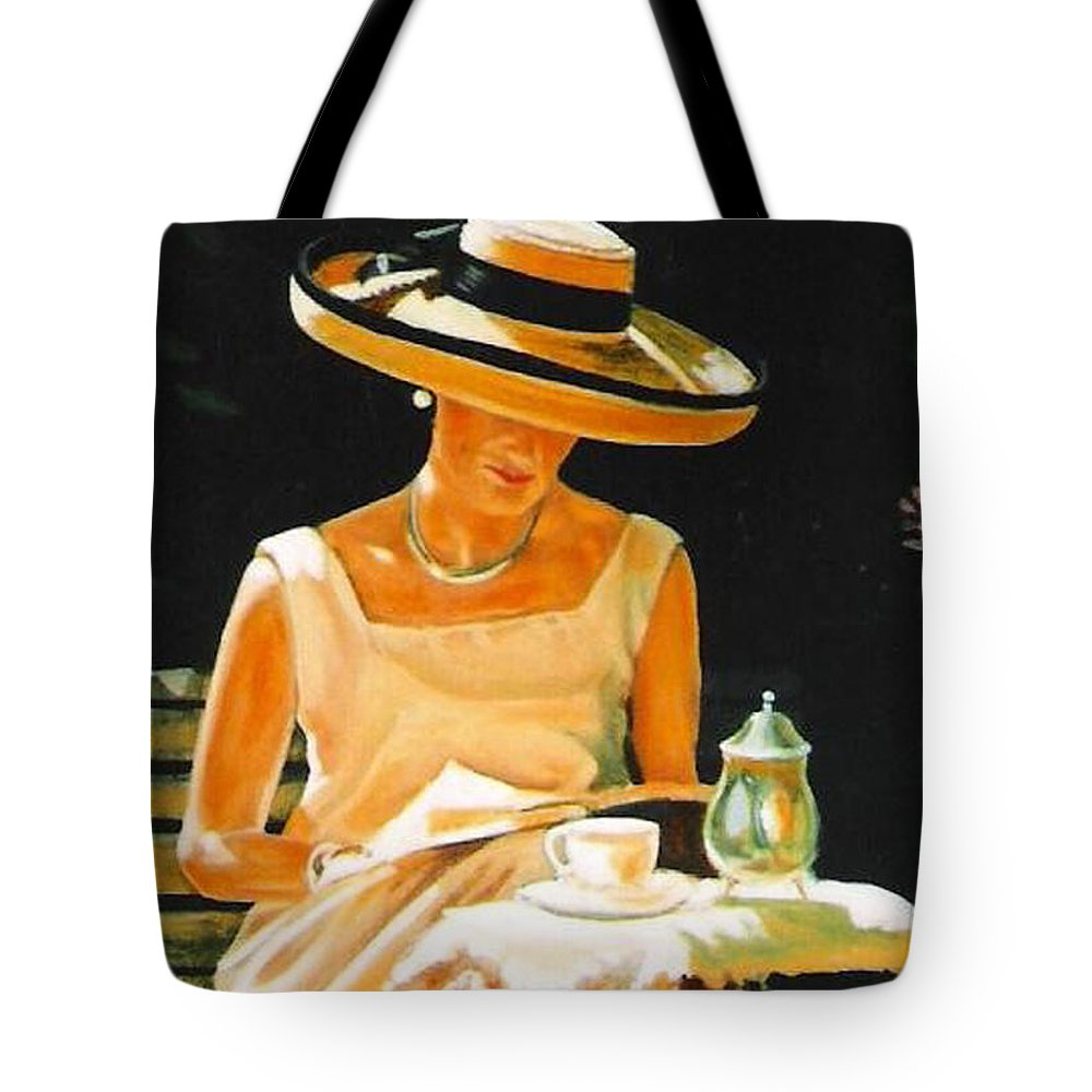 Tea Cup Tote Bag featuring the painting Quiet time by Keith Gantos