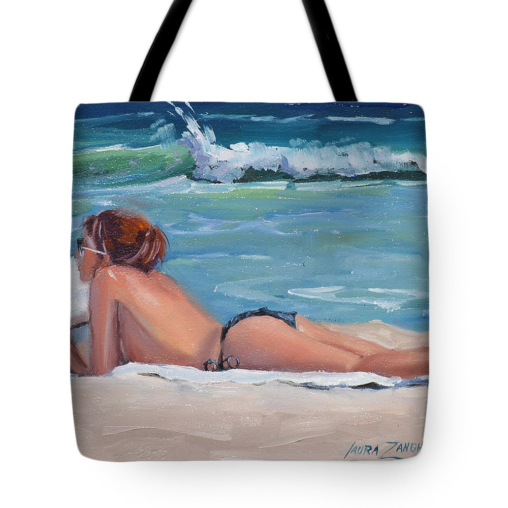 Topless Sumbather Tote Bag featuring the painting Quiet Time by Laura Lee Zanghetti