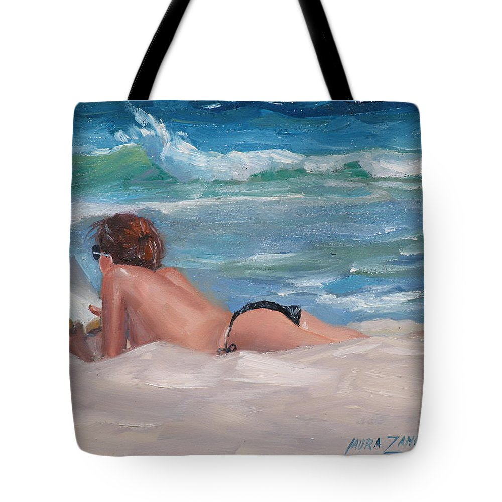 Topless Sunbather Tote Bag featuring the painting Quiet Time Two by Laura Lee Zanghetti