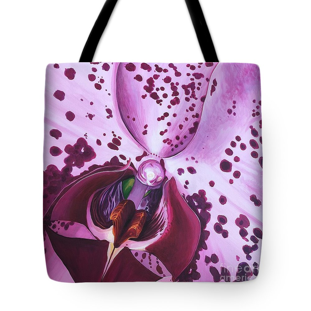 Phaleonopsis Tote Bag featuring the painting Quiet World by Hunter Jay