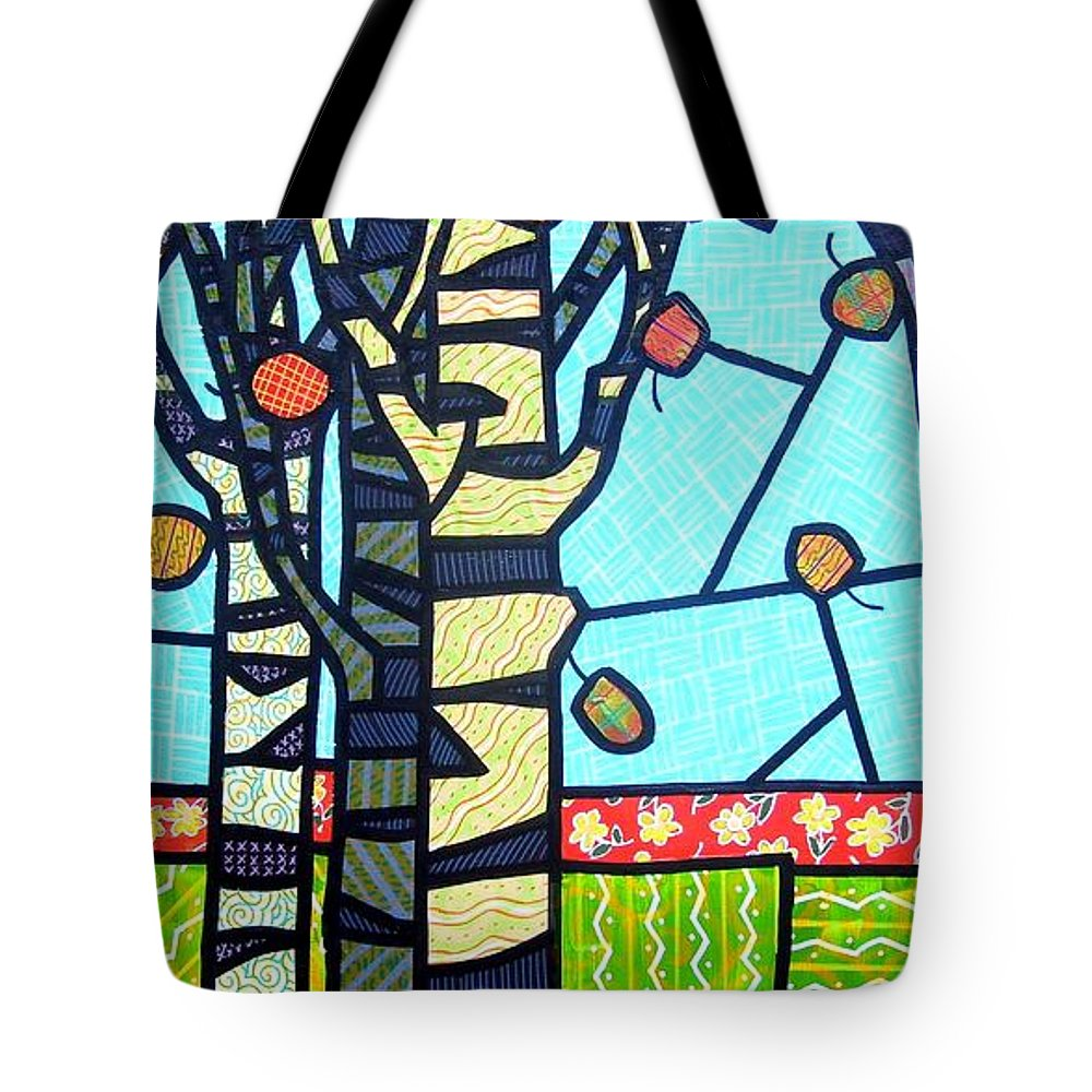 Birch Trees Tote Bag featuring the painting Quilted Birch Garden by Jim Harris