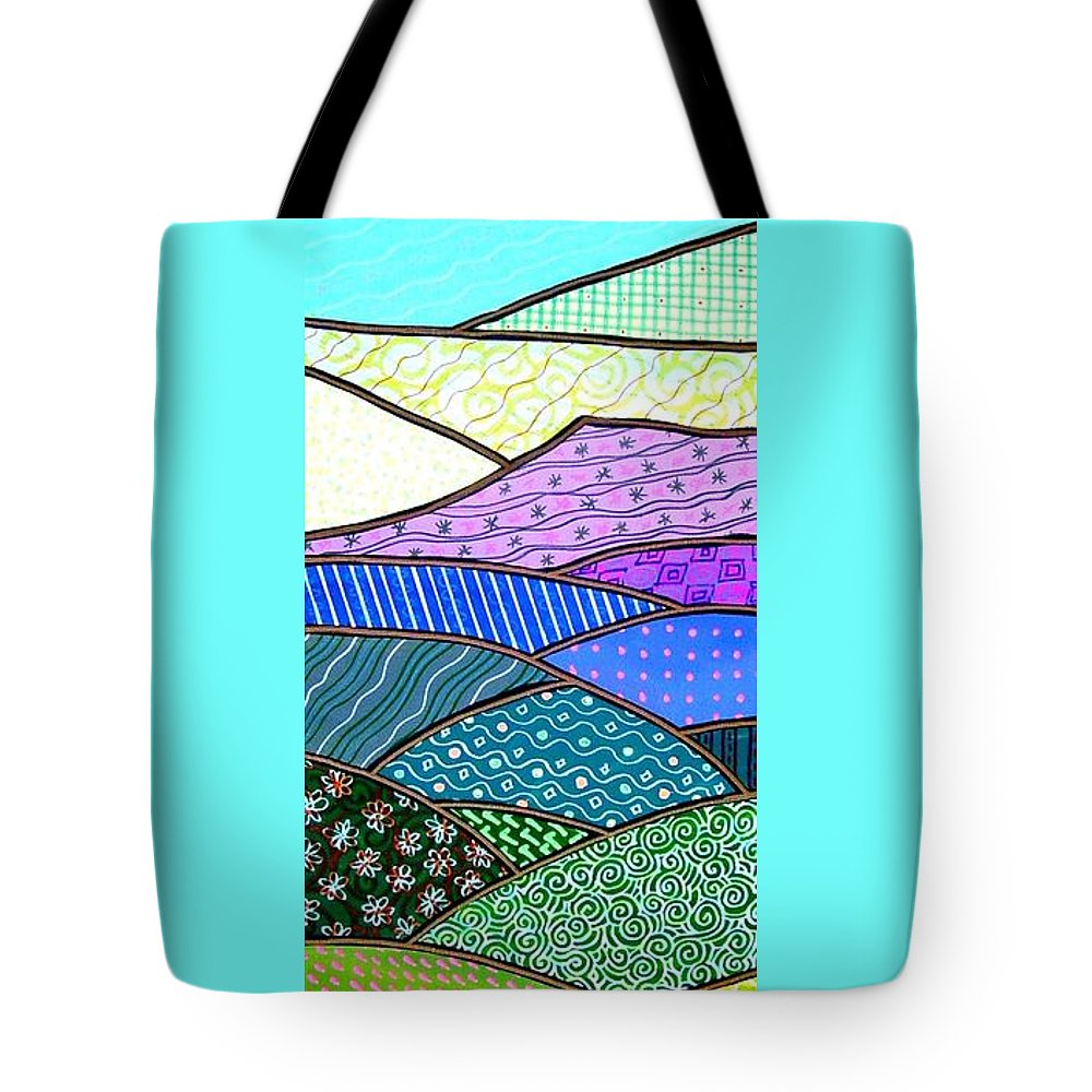 Mountain Tote Bag featuring the painting Quilted Mountain by Jim Harris