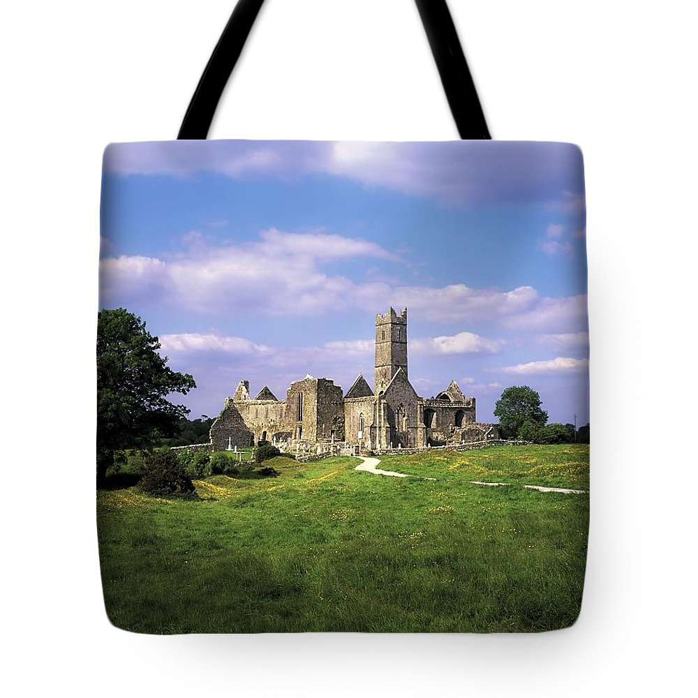 Cemetery Tote Bag featuring the photograph Quin Abbey, Quin, Co Clare, Ireland by The Irish Image Collection