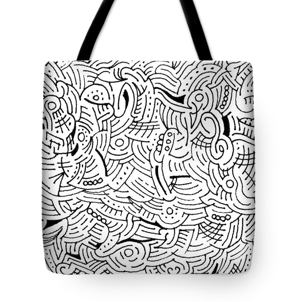 Mazes Tote Bag featuring the drawing Quintessence by Steven Natanson