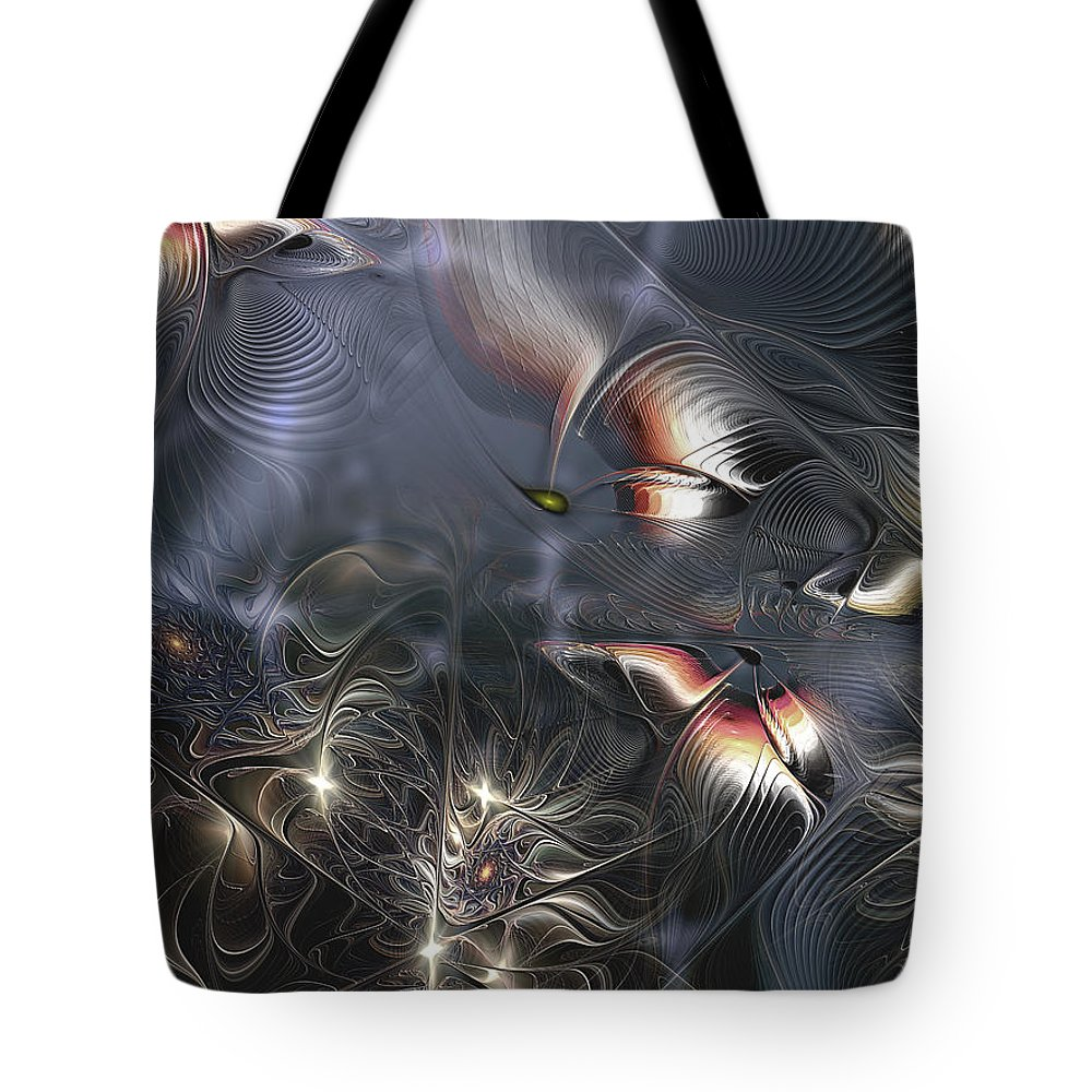 Abstract Tote Bag featuring the digital art Quixotic Cerebrations by Casey Kotas