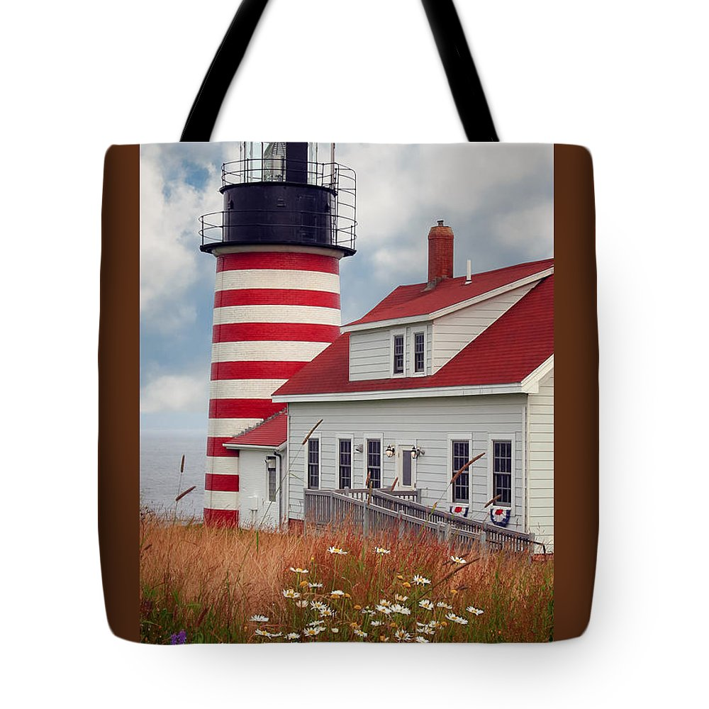 West Quoddy Lighthouse Tote Bag featuring the photograph Quoddy Lighthouse Afternoon by Brenda Giasson