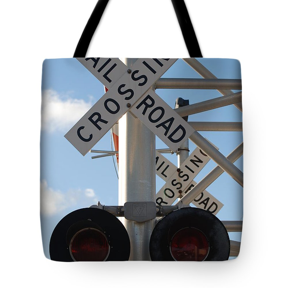Train Tote Bag featuring the photograph R X R Crossing by Rob Hans