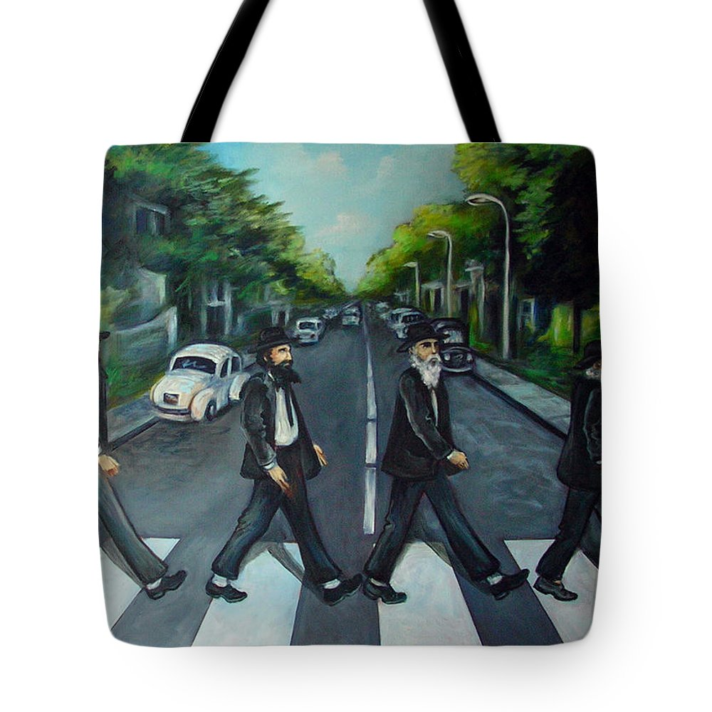 Surreal Tote Bag featuring the painting Rabbi Road by Valerie Vescovi