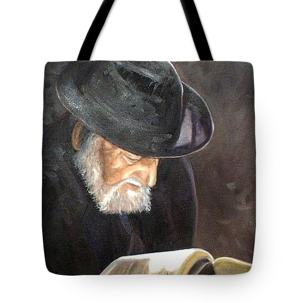 Portrait Tote Bag featuring the painting Rabbi by Toni Berry