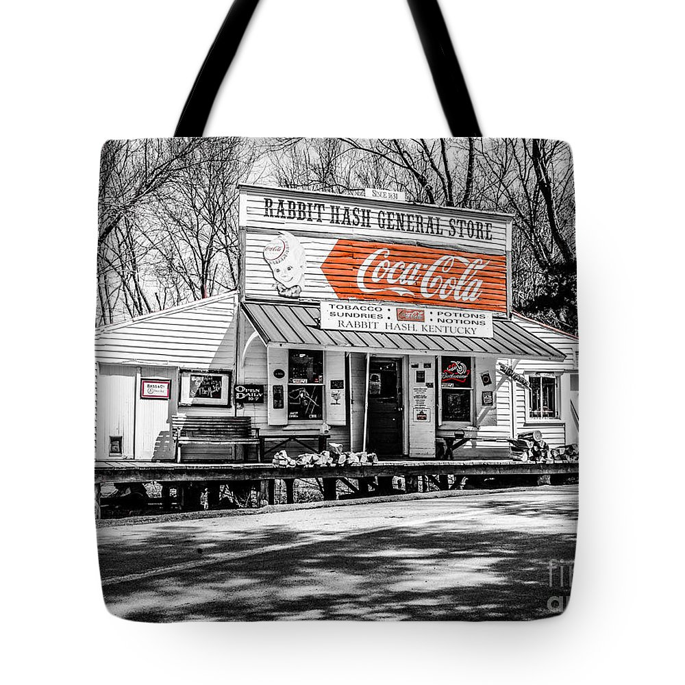 Winter Tote Bag featuring the photograph Rabbit Hash Store-front View Sc by Mary Carol Story
