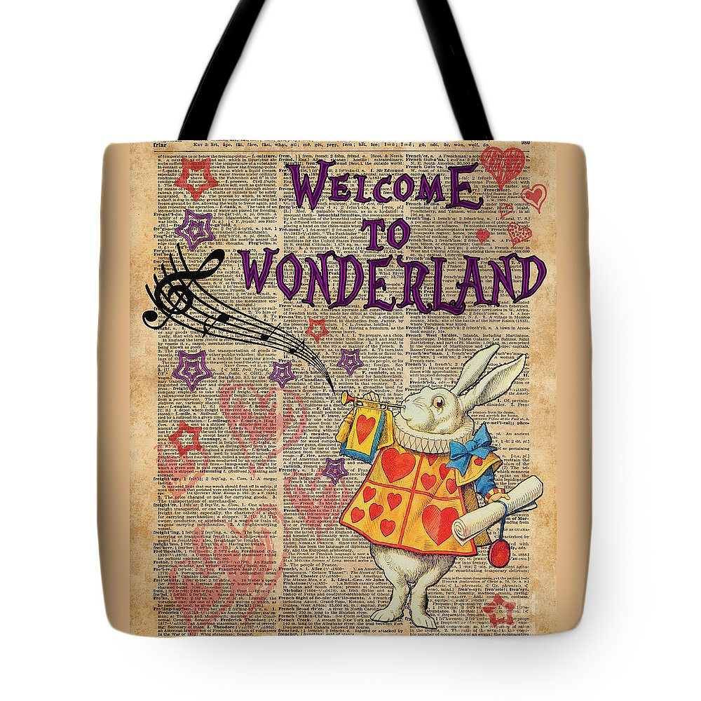 Rabbit Tote Bag featuring the digital art Rabbit Welcome To .. Alice In Wonderland by Anna W