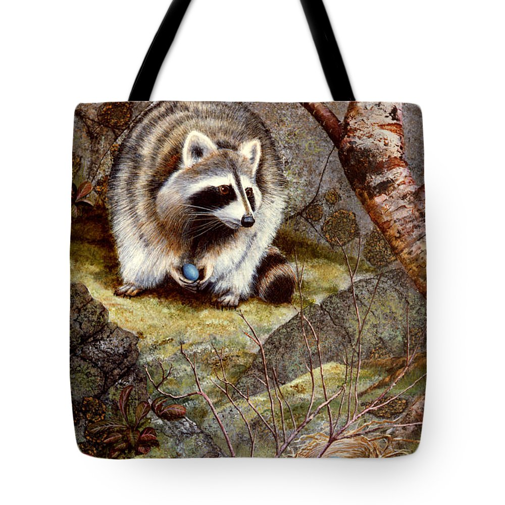 Raccoon Found Treasure Tote Bag featuring the painting Raccoon Found Treasure by Frank Wilson